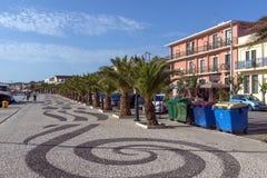 Panorama bulwar miasteczko Argostoli, Kefalonia, Ionian wyspy, Grecja Obraz Royalty Free