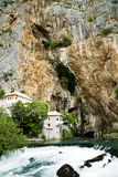 Panorama of the Buna river with mini waterfall Royalty Free Stock Images