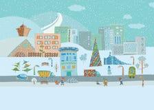 Panorama Buntes von Hand gezeichnetes des Winterstadtlebens lizenzfreie stockbilder