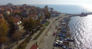 Panorama of the Burgas bay from the coast of the Bulgarian Pomorie stock footage