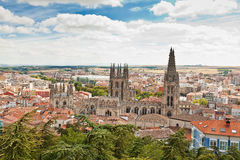 Panorama of Burgos, Spain with Burgos Cathedral Stock Photo