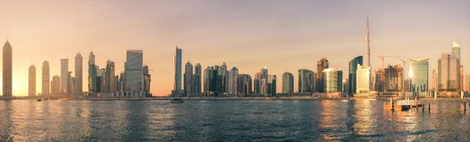 Panorama Business Bay, Dubai, Jan.2018. Panorama Business Bay on the Dubai Canal, Dubai, United Arab Emirates, Jan.2018 Stock Photography