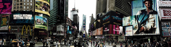 Panorama of busy Times Square in New York. A Panorama of busy Times Square in New York stock image