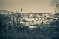 Panorama of Bystrzyca Klodzka, view of the old buildings of the city. Poland, Panorama of Bystrzyca Klodzka, view of the old buildings of the city europe sudety royalty free stock images