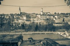 Panorama of Bystrzyca Klodzka, view of the old buildings of the city. Poland, Panorama of Bystrzyca Klodzka, view of the old buildings of the city europe sudety stock photo