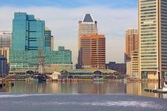Panorama céntrico de Baltimore en invierno fotografía de archivo libre de regalías