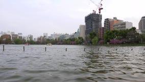 Panorama céntrico de la ciudad de Tokio, lago en el parque de Ueno almacen de metraje de vídeo