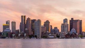 Panorama céntrico del horizonte de Boston Imagen de archivo