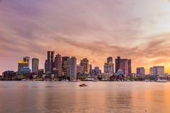 Panorama céntrico del horizonte de Boston Fotografía de archivo