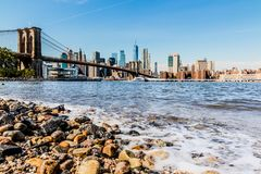 Panorama céntrico del horizonte del Lower Manhattan foto de archivo libre de regalías