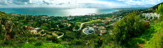 Panorama côtier à Malaga Photographie stock
