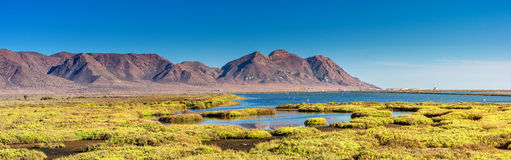 Panorama Cabo de Gata. The natural parc of Cabo de Gata in Andalusia. Between mountains and the sea stock photography