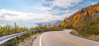 Panorama of Cabot Trail Highway. (Cape Breton, Nova Scotia, Canada Royalty Free Stock Image