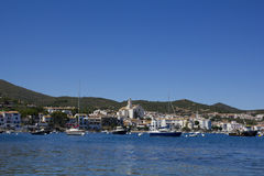Panorama of Cadaques. Cadaques, a small coastal town, is the small town of the Catalan painter Salvador Dali. The Church of Cadaques is a symbol in the village Stock Photos