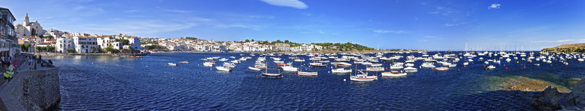 Panorama of Cadaques harbor in summer Royalty Free Stock Photos