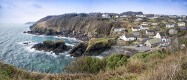 Panorama of Cadgwith village and harbour Stock Image