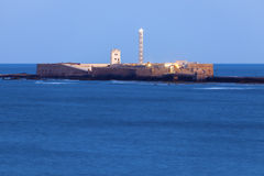 Panorama of Cadiz. With the lighthouse seen at night. Cadiz, Andalusia, Spain Royalty Free Stock Photography