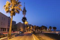 Panorama of Cadiz. At nigth. Cadiz, Andalusia, Spain Royalty Free Stock Images