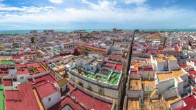 Panorama Cadiz Spain. Panorama of Cadiz Town on a sunny day by the Tavira Tower, the best views of Cadiz, Andalusia, Spain stock footage