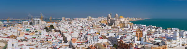 Panorama of Cadiz. In a sunny summer day Royalty Free Stock Photos