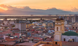 Panorama of Cagliari during the sunset, Sardinia, Italy Stock Images