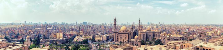 Panorama of the Cairo Citadel and the city skyline, aerial view.  stock images