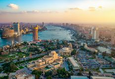 Panorama of Cairo. Cityscape taken during the sunset from the famous Cairo tower, Cairo, Egypt stock photography
