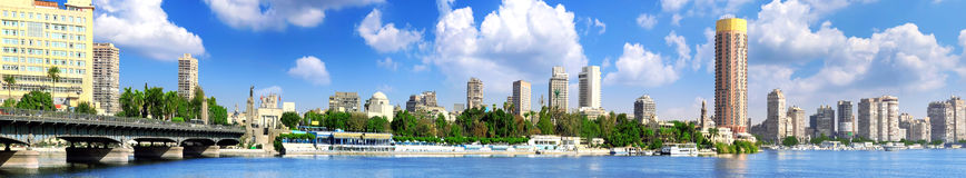 Panorama on Cairo, seafront of Nile River. Stock Photos