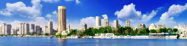 Panorama on Cairo, seafront of Nile River. Egypt. Stock Photos