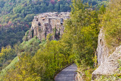 Panorama of Calcata, Italy. Calcata is a town in the Province of Viterbo in the Italian region Latium Royalty Free Stock Photography