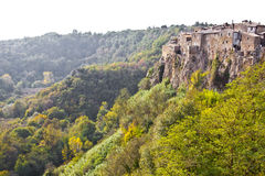 Panorama of Calcata, Italy. Calcata is a town in the Province of Viterbo in the Italian region Latium Royalty Free Stock Images