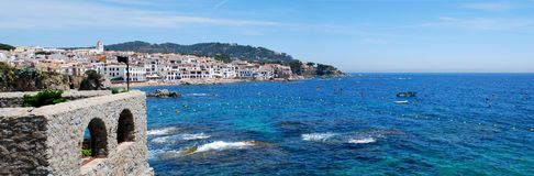 Panorama of Calella de Palafrugell. A beautiful catalonian town. Panorama of Calella de Palafrugell. Old fishing village, formed by several coves, which still Stock Photography