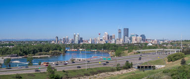 Panorama of Calgary and Rocky Mountains Stock Photography