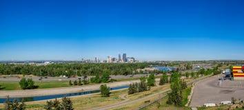 Panorama of Calgary and Rocky Mountains Stock Photo