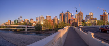 Panorama of Calgary's skyline along the Louise Bridge Royalty Free Stock Images