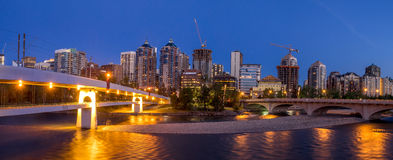 Panorama of Calgary's skyline along the Louise Bridge Royalty Free Stock Photos