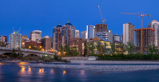 Panorama of Calgary's skyline along the Louise Bridge Royalty Free Stock Image