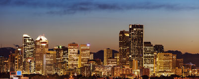 Panorama of Calgary at sunrise Stock Photography