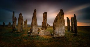 Callanish sunset Panorama. Panorama of Callanish stones in sunset light, Lewis, Scotland stock photography