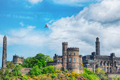 Panorama of Calton Hill in Edinburgh in Scotland. Panorama of Calton Hill with Political Martyrs Monument on Old Calton Burial Ground, Dugald Stewart Monument Stock Photography