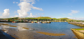 Panorama of Cambeltown, scotland harbor. Panoramic view of the Harbor and City of Cambeltown, Argyll and Bute, Kintyre, Scotland Stock Photos