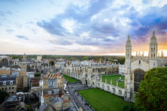 Panorama of Cambridge and Kings Collage with beautiful sunset sky, UK Royalty Free Stock Images