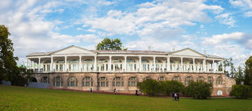 Panorama of Cameron gallery in Catherine's park in Tsarskoe Selo Royalty Free Stock Images