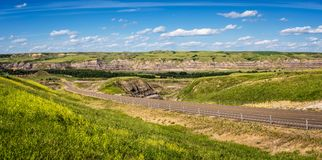 Panorama of  canadian badlands in Alberta Royalty Free Stock Photography