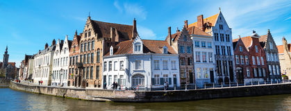 Panorama with canal and colorful traditional houses in Brugge, Belguim Royalty Free Stock Image