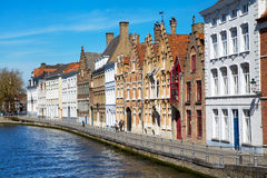 Panorama with canal and colorful traditional houses in Brugge, Belguim Stock Image