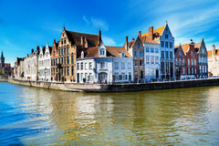 Panorama with canal and colorful traditional houses in Brugge, Belguim Stock Photography