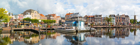 Panorama of canal cruise terminal in Leiden, Netherlands. Panorama of Oude Singel and Beestenmarkt in old town of Leiden, South Holland, Netherlands Royalty Free Stock Image
