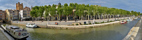 Panorama of Canal de la Robine in historical Narbonne City Royalty Free Stock Image