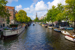 Panorama of canal in old town in Amsterdam Stock Images